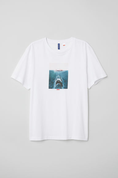 T-shirt with a motif - White/Jaws - Men | H&M