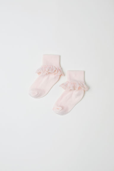 2-pack lace-trimmed socks - Powder pink - Kids | H&M CN