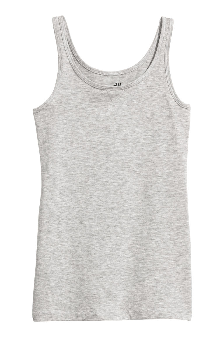 Jersey vest top - Light grey marl - Kids | H&M