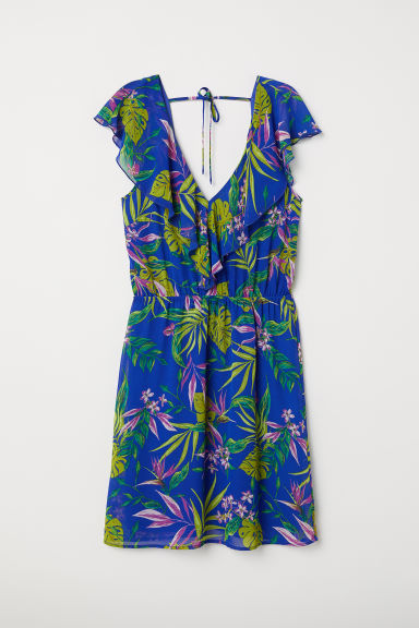 V-neck dress - Bright blue/Floral - Ladies | H&M CN