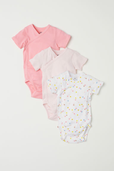 3-pack short-sleeved bodysuits - Light pink/Spotted -  | H&M