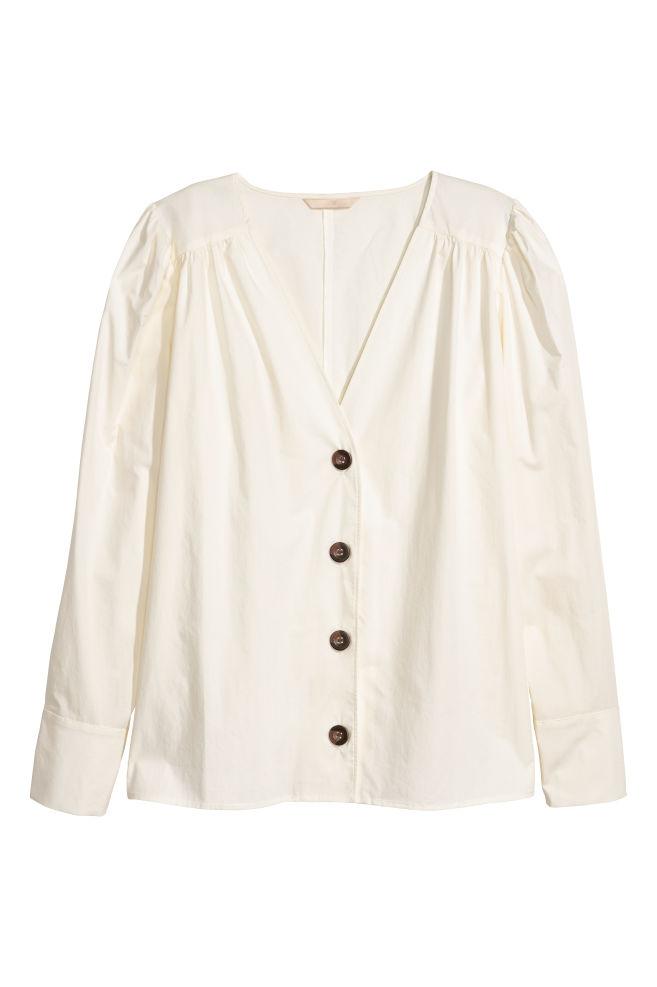 cb6612fb6fc V-neck blouse - White - Ladies