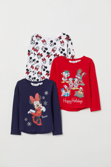 3-pack long-sleeved tops - Red/Minnie Mouse -  | H&M CN