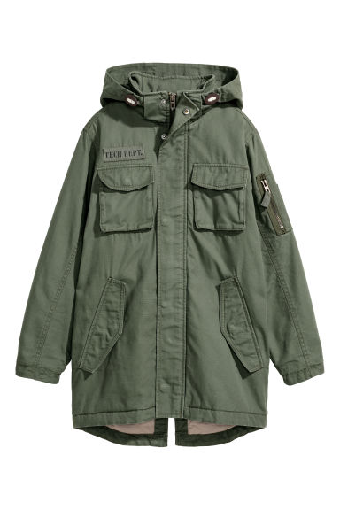 Cotton canvas parka - Khaki green - Kids | H&M CN