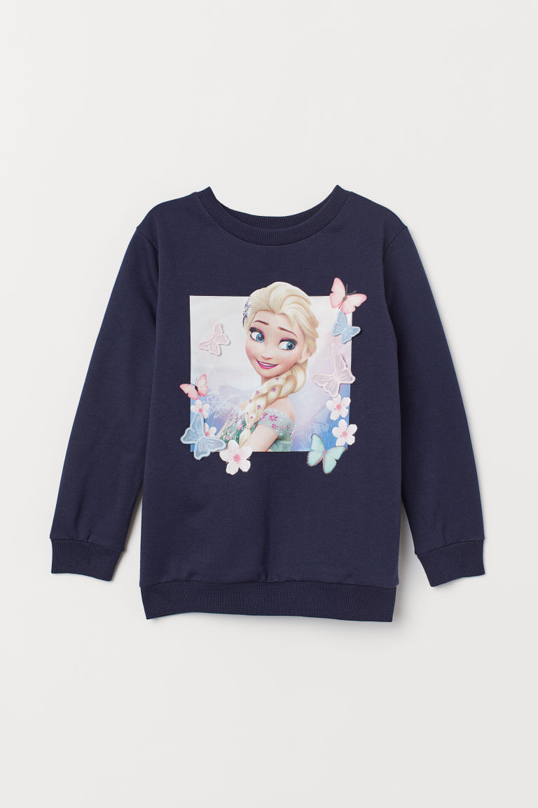 Sweatshirt with a motif - Dark blue/Frozen - Kids | H&M CN