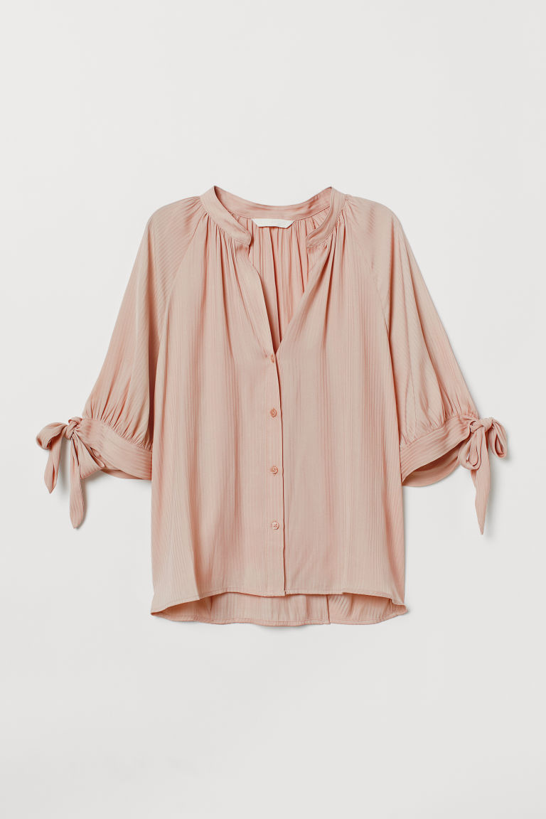 Bluse mit Bindeärmeln - Puderrosa - Ladies | H&M AT