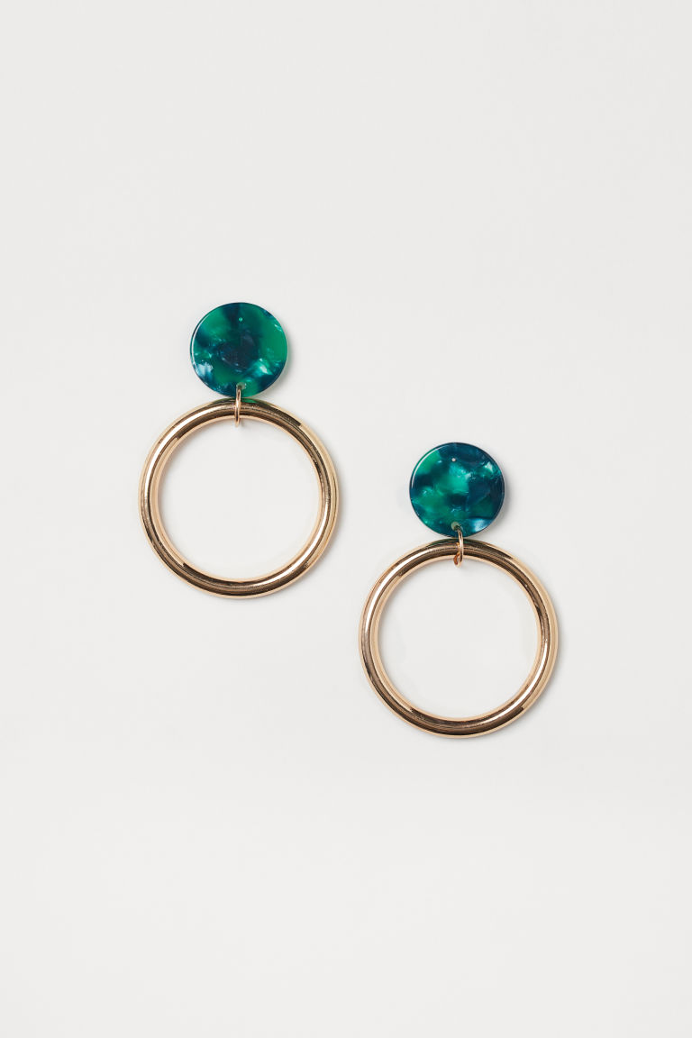 Hoop earrings - Gold-coloured/Green - Ladies | H&M GB