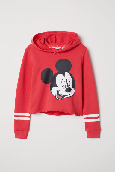Short hooded top - Red/Mickey Mouse - Kids | H&M CN