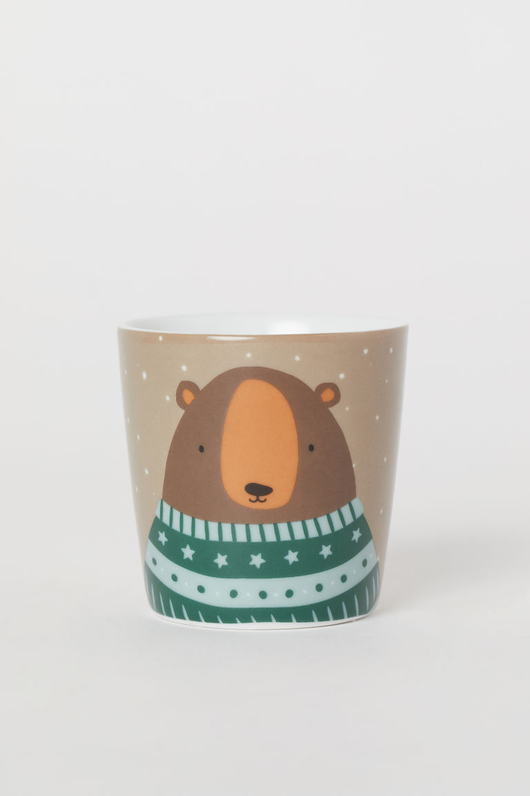 Porcelain Mug with Motif - Taupe/bear - Home All | H&M US