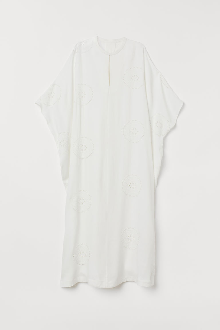 Kaftan with Eyelet Embroidery - White - Ladies | H&M CA