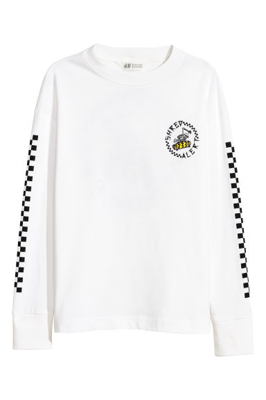 Printed jersey top - White - Kids | H&M CN