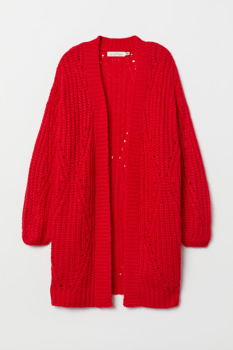 Textured-knit cardigan - Red - Ladies | H&M
