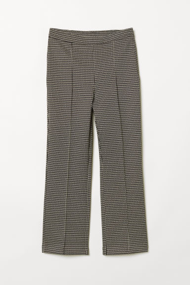 Ankle-length trousers - Beige/Dogtooth-patterned - Ladies | H&M CN