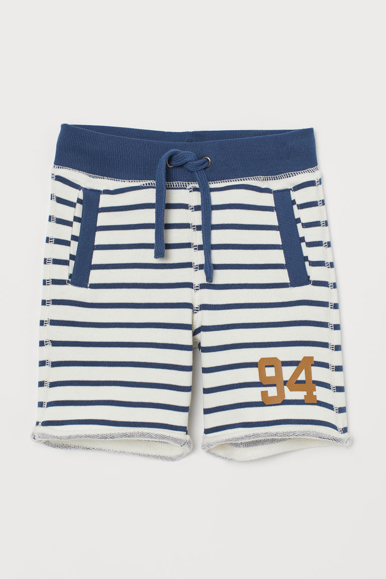 Sweatshirt shorts - White/Blue striped - Kids | H&M