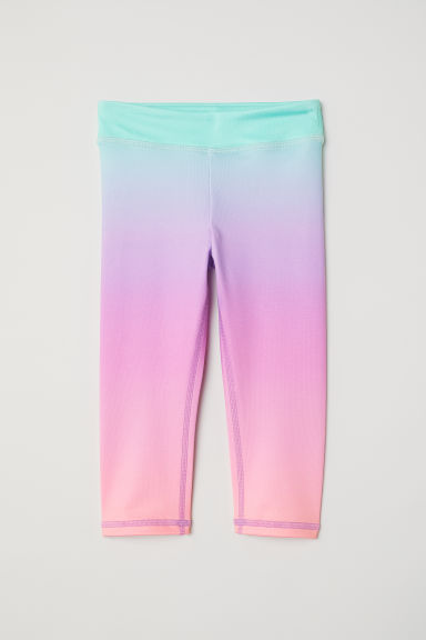 3/4-length sports tights - Pink/Rainbow coloured -  | H&M