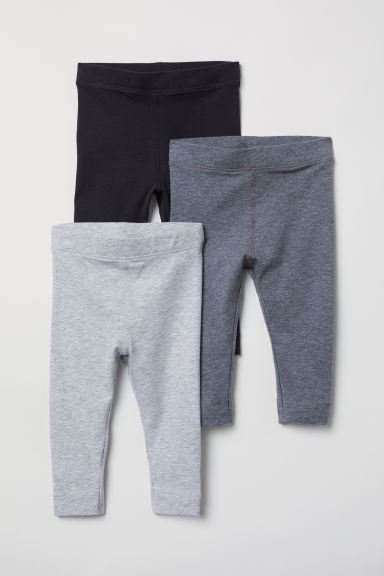 3-pack pima cotton leggings - Grey - Kids | H&M