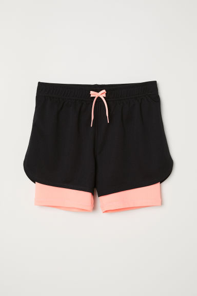 Double-layered sports shorts - Black -  | H&M CN