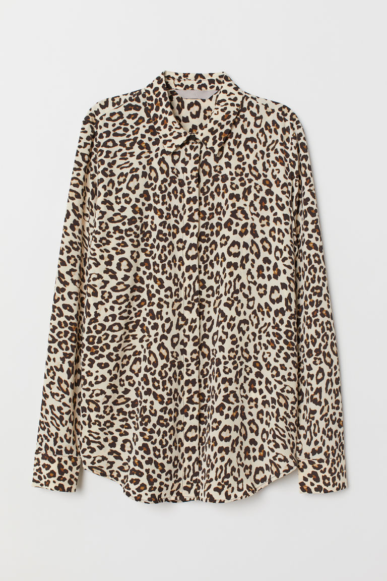 Long-sleeved blouse - Light beige/Leopard print - Ladies | H&M