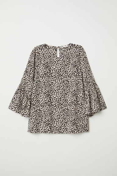 Trumpet-sleeved blouse - Light beige/Leopard print - Ladies | H&M