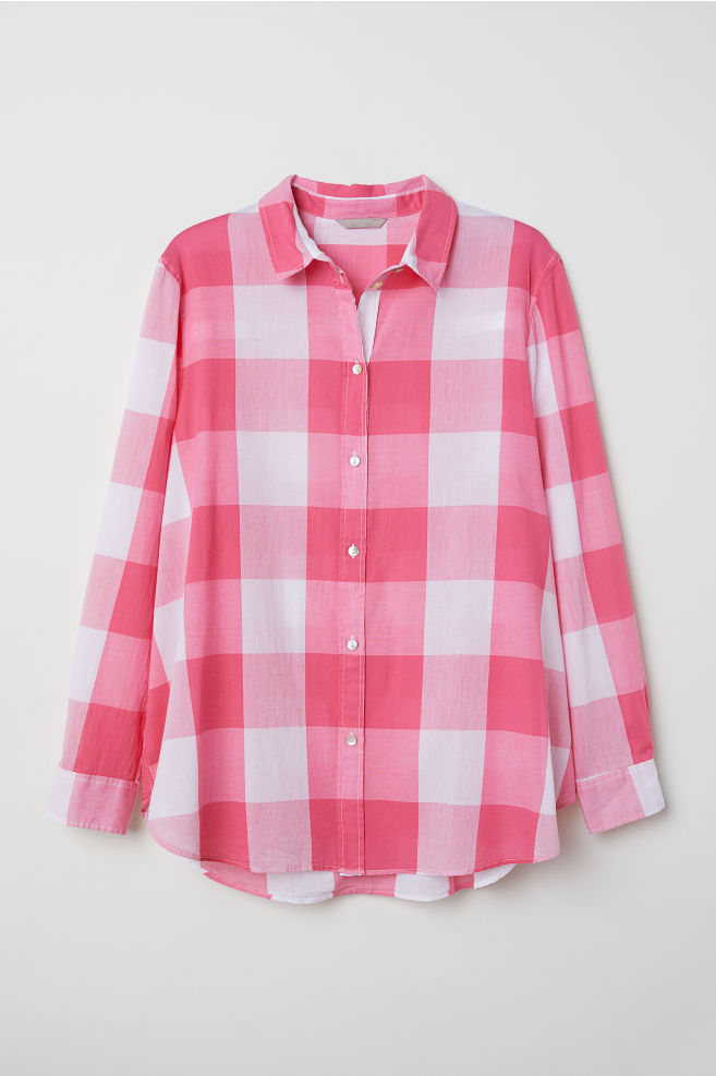 9787c9d6 H&M+ Cotton shirt - Pink/Checked - Ladies | H&M ...