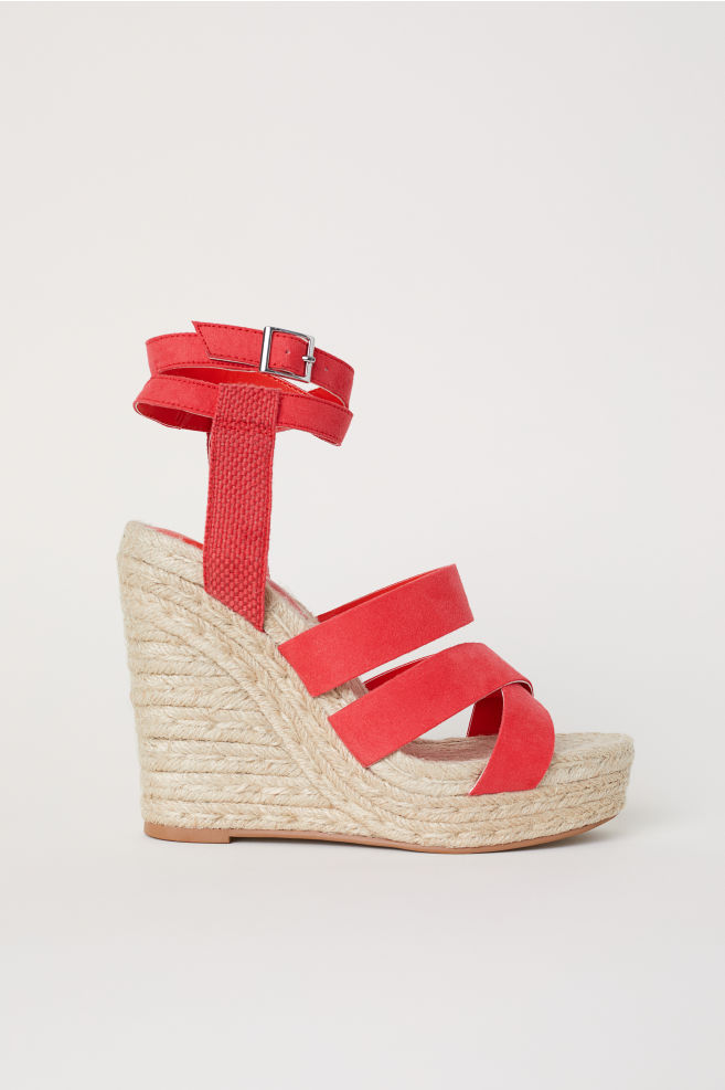 0e1989d54b48 Wedge-heel platform sandals - Red - Ladies