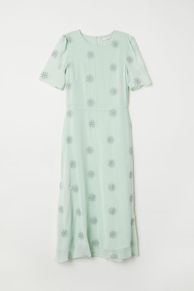 Embroidered dress - Light green - Ladies | H&M