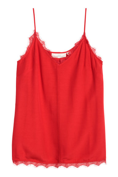 Crêpe strappy top - Red - Ladies | H&M CN