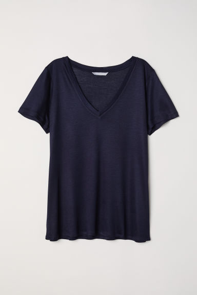 Top in jersey scollo a V - Blu scuro - DONNA | H&M IT