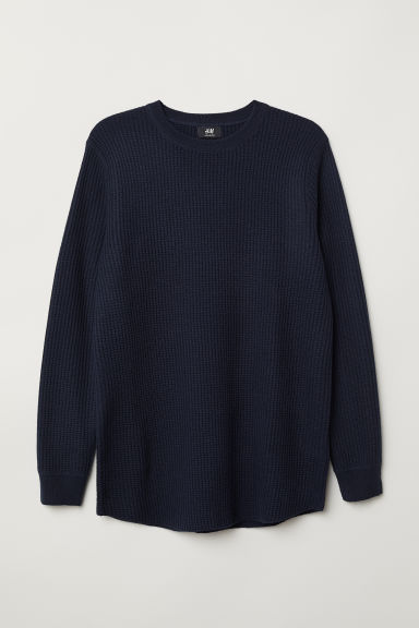 Textured-knit jumper - Dark blue - Men | H&M CN