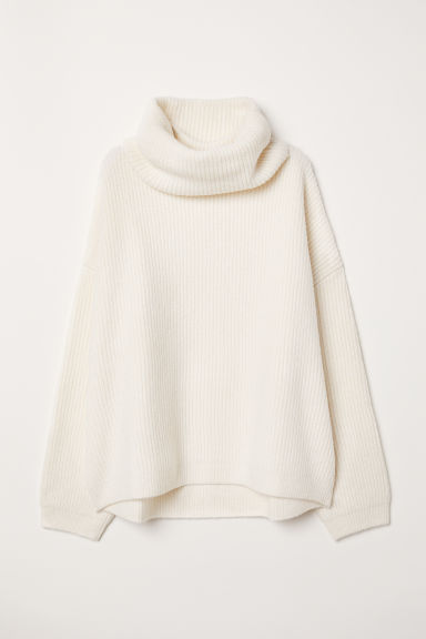 Ribbed Turtleneck Sweater - Cream - Ladies | H&M US