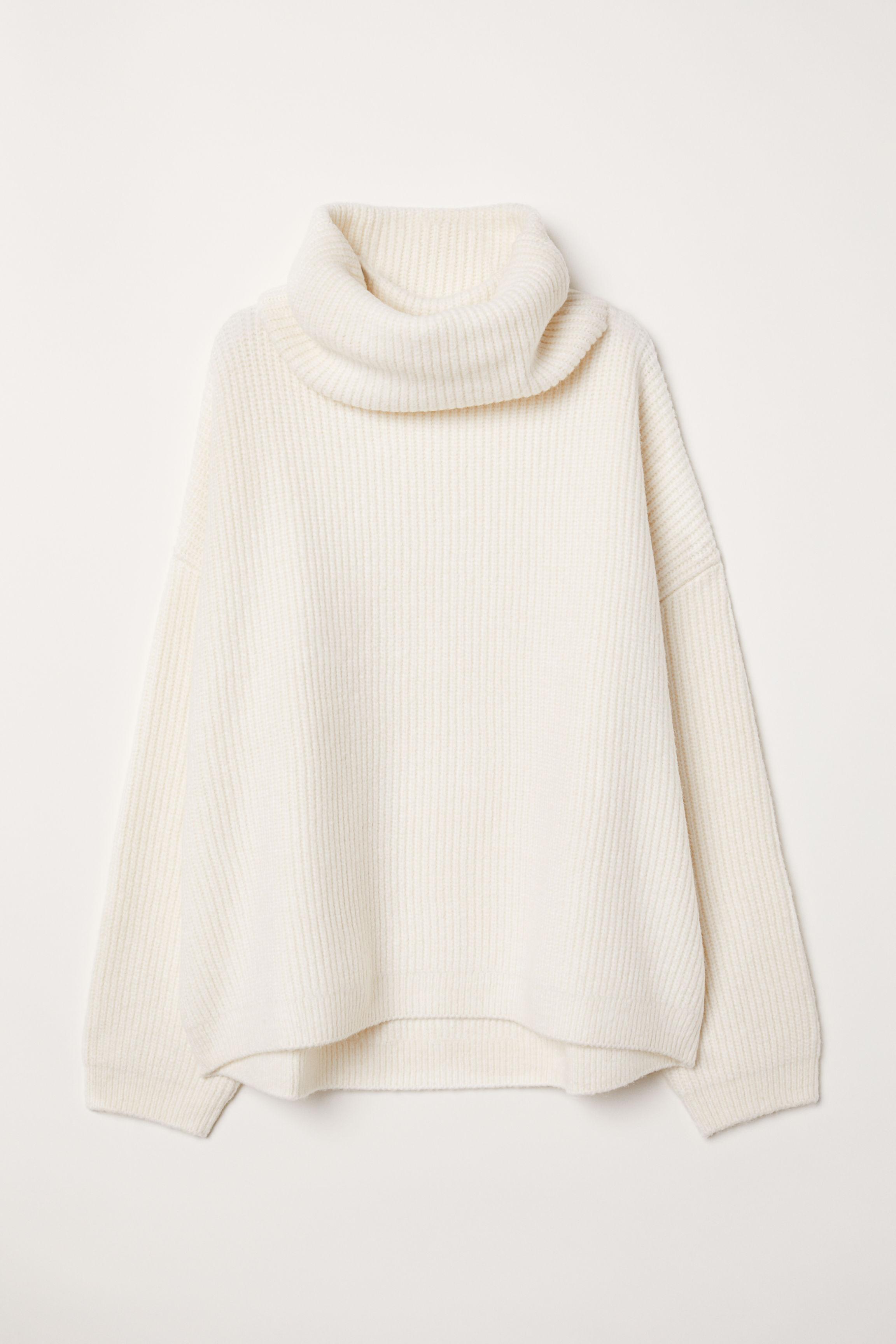 372b808ca3273f Ribbed Turtleneck Sweater - Cream - Ladies | H&M US