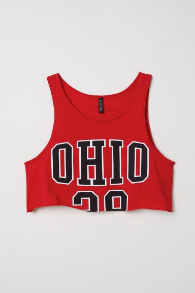 Cropped vest top - Red/Ohio -  | H&M CN