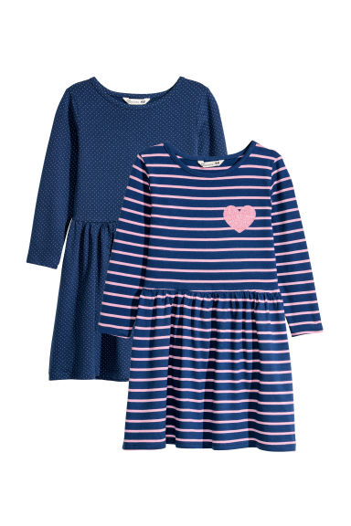 2-pack jersey dresses - Dark blue/Pink striped - Kids | H&M CN