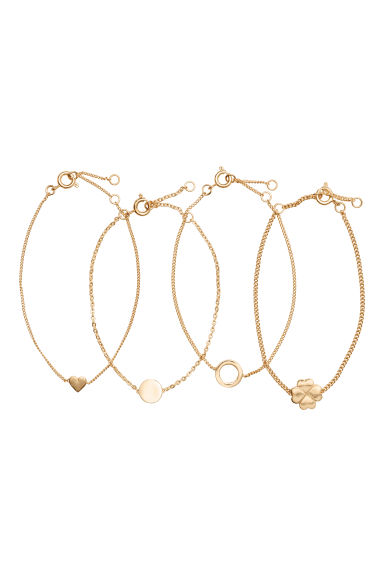 4-pack bracelets - Gold-coloured - Ladies | H&M CN