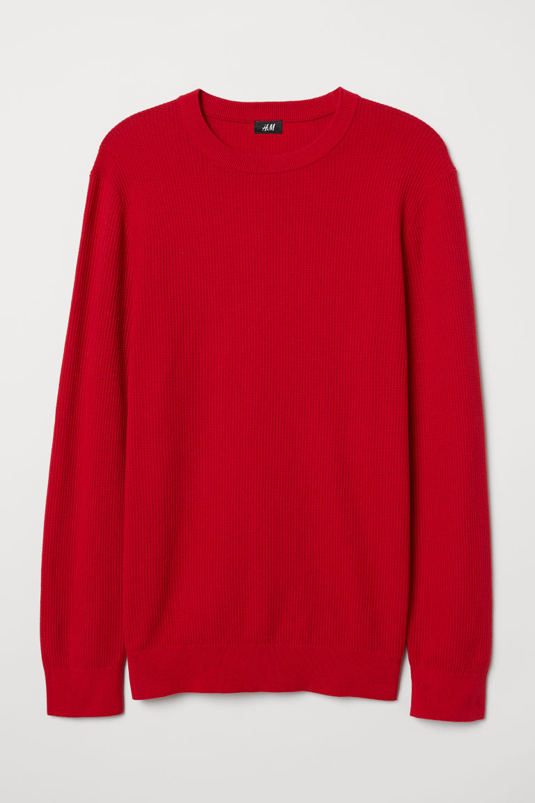 Knitted cotton jumper - Red - Men | H&M