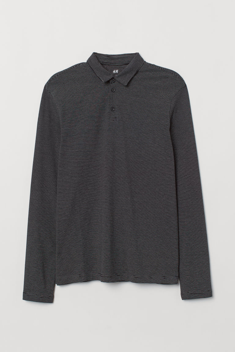 Polo shirt Slim Fit - Black/Striped - Men | H&M IN