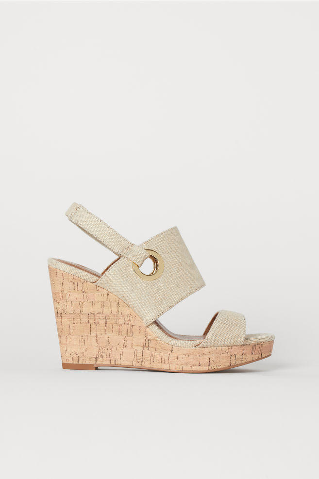 8aead3fac0 Wedge-heel sandals - Beige - Ladies | H&M ...