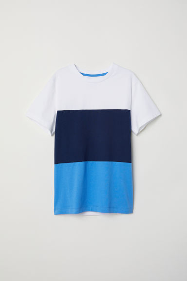 Cotton T-shirt - Blue/Block-coloured -  | H&M CN