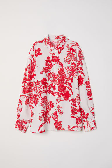 Crêpe shirt - Cream/Red patterned - Ladies | H&M CN