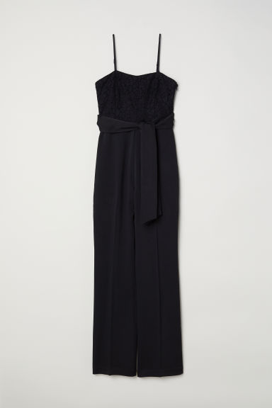 Jumpsuit with lace - Black -  | H&M