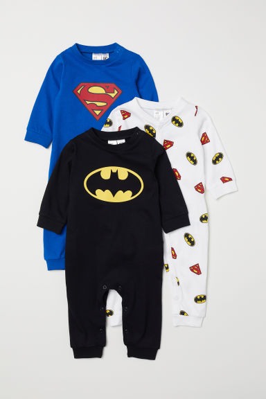 3-pack pyjamas - Blue Superman/Black Batman - Kids | H&M