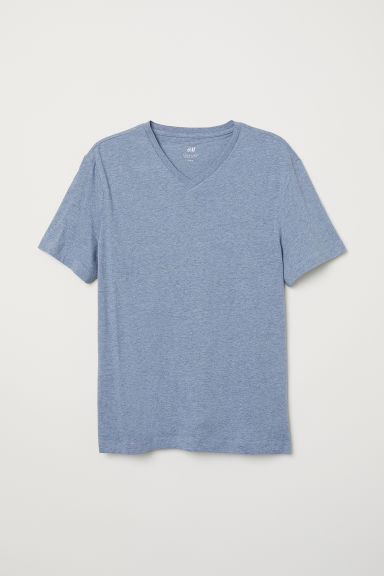 T-shirt scollo a V Regular fit - Azzurro mélange - UOMO | H&M IT