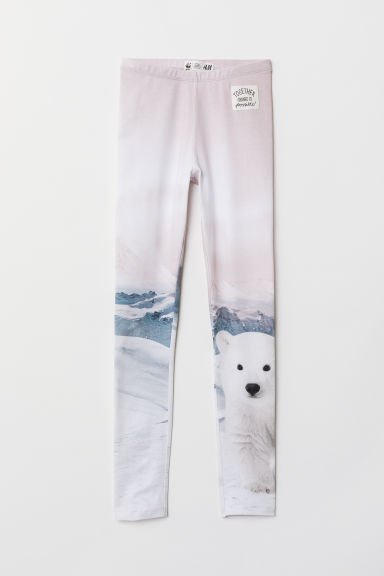 Printed leggings - White/Polar bear - Kids | H&M