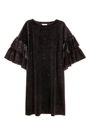 Glittery velour dress - Black/Glittery - Ladies | H&M
