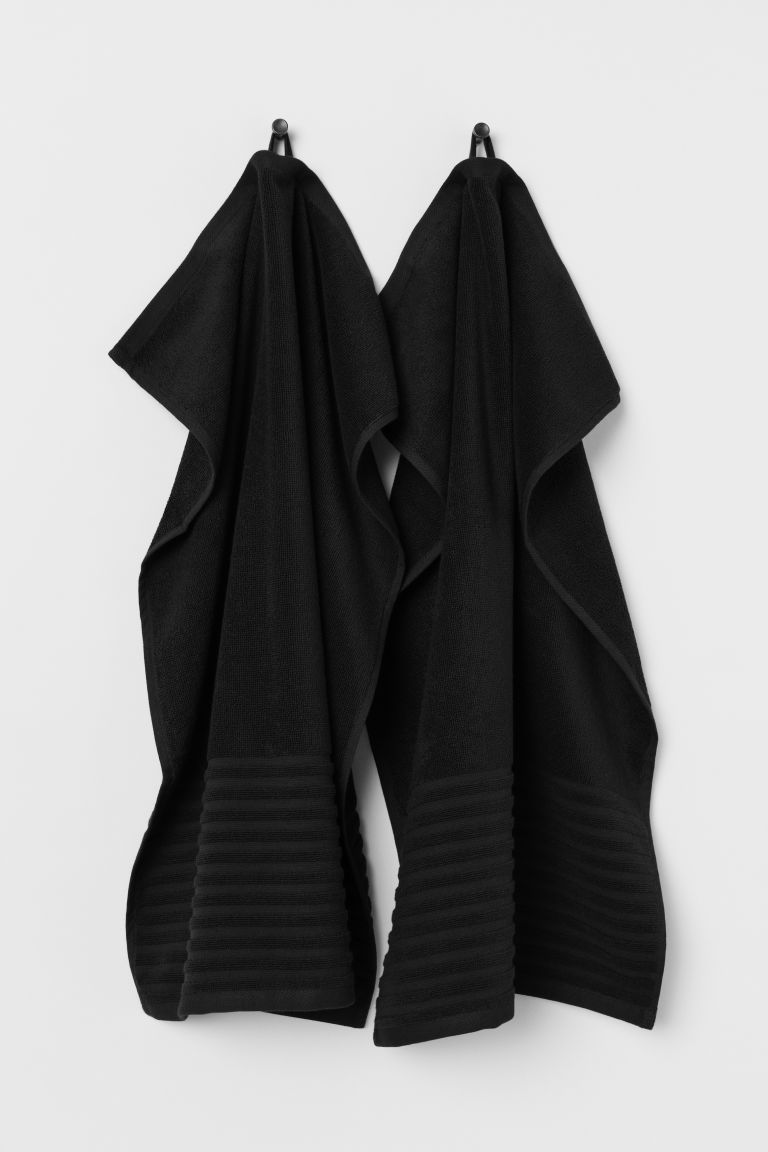 2-pack Hand Towels - Black - Home All | H&M CA