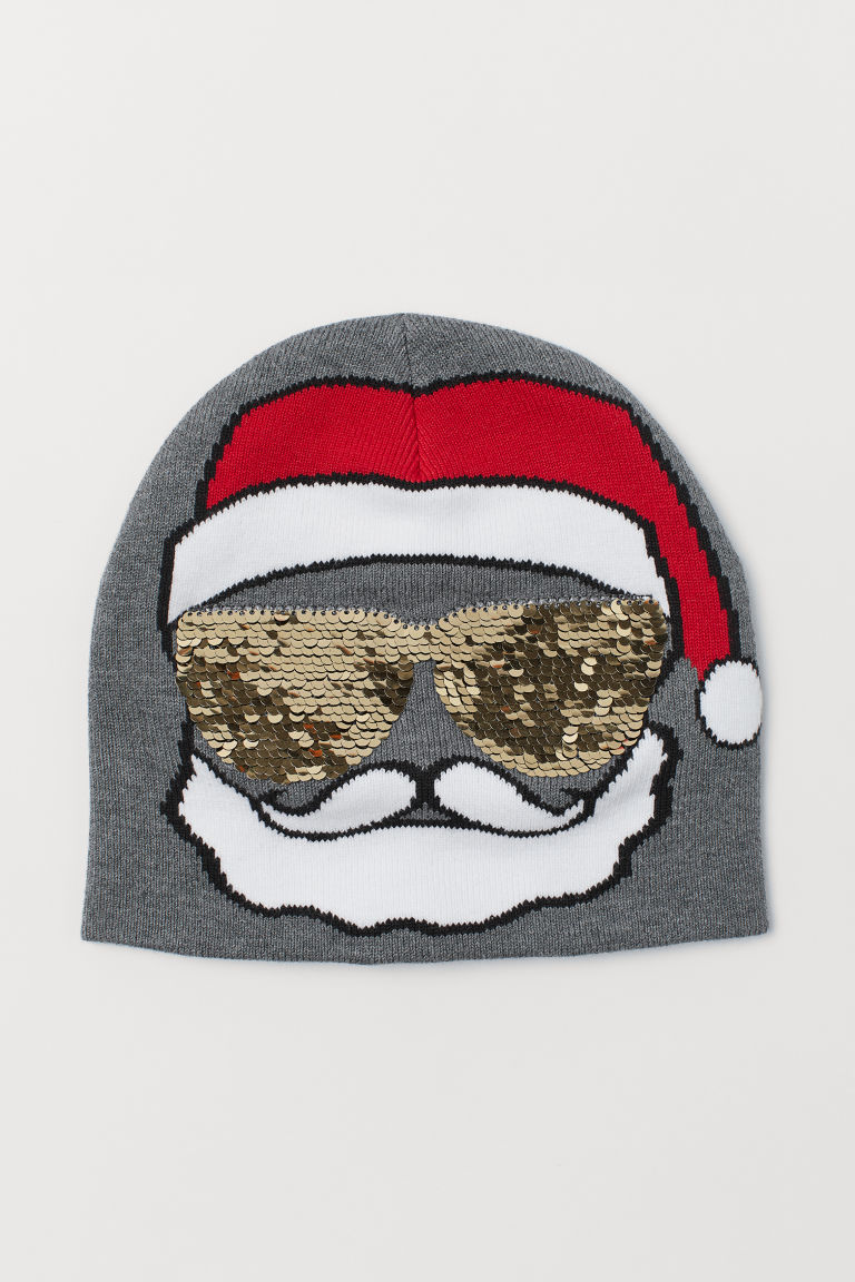 Hat with reversible sequins - Grey marl/Santa - Kids | H&M CN