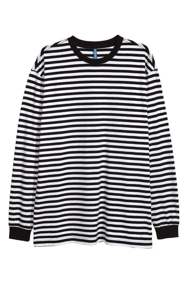 8fd0d1ed248be3 Long-sleeved jersey top - Black/White striped - Men | H&M ...