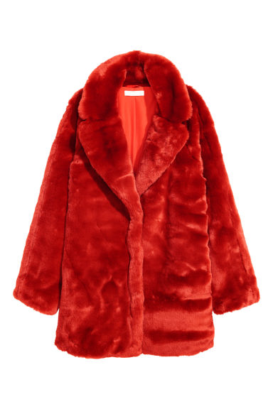 Short faux fur coat - Red - Ladies | H&M