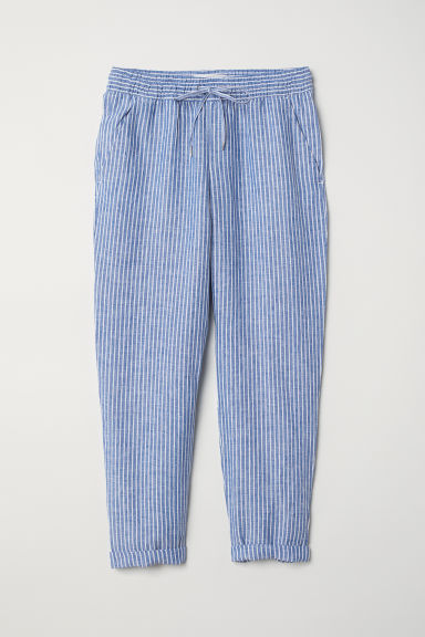 Linen joggers - Blue/White striped - Ladies | H&M CN