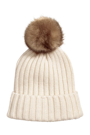 Ribbed hat - Cream -  | H&M CN